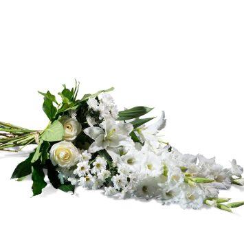 Ramo horizontal en tonos blancos - Envío de Flores a Domicilio