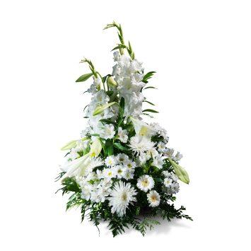 Centro vertical en tonos blancos - Envío de Flores a Domicilio