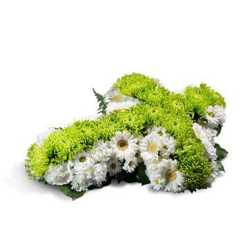 Cruz pequeña blanca y verde - Envío de Flores a Domicilio