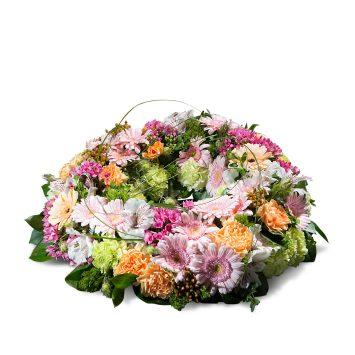 Corona pequeña en tonos pastel - Envío de Flores a Domicilio