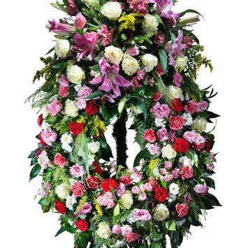 Corona Clasica multicolor con cabecero - Envío de Flores a Domicilio
