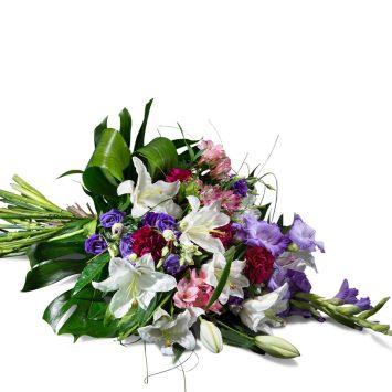 Ramo horizontal en tonos morados - Envío de Flores a Domicilio