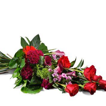 Ramo horizontal en tonos Rojos - Envío de Flores a Domicilio