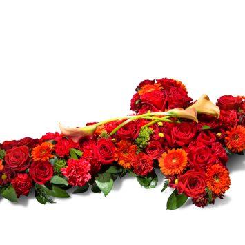 Cruz grande en tonos rojos - Envío de Flores a Domicilio
