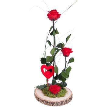 Centro de rosas rojas preservadas