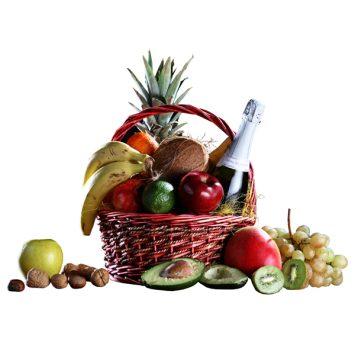 Cesta de frutas y cava