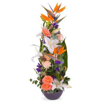 Centro vertical Tonos Naranjas - Env?o de Flores a Domicilio