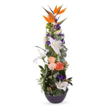 Centro vertical Tonos Naranjas - Envío de Flores a Domicilio