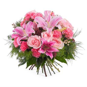 Ramo variado con rosas y lilium - Envío de Flores a Domicilio