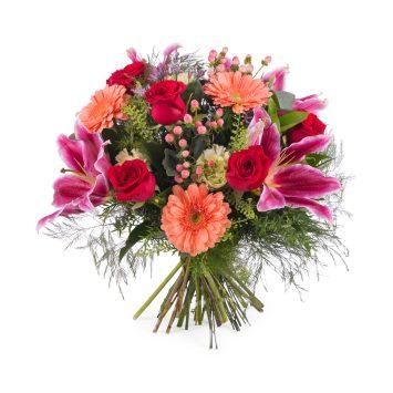 Ramo de rosas con Liliums - Envío de Flores a Domicilio