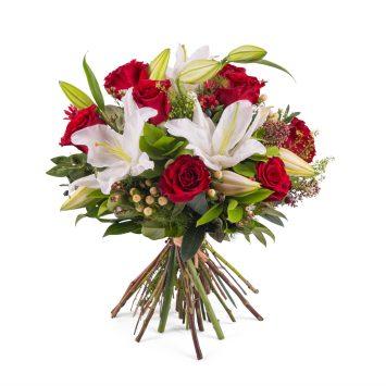 Arreglo de rosas con Liliums - Envío de Flores a Domicilio