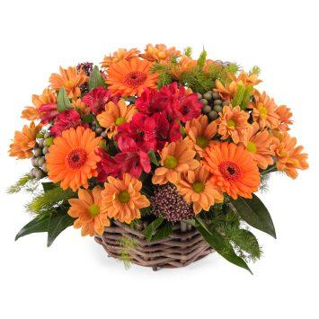 Arreglo en cesta de flor variada - Envío de Flores a Domicilio