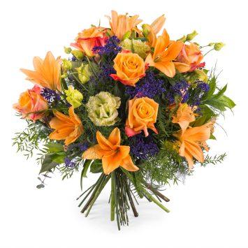 Ramo especial con rosas naranjas - Envío de Flores a Domicilio