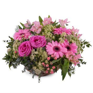 Cesta de Gerberas Rosas - Envío de Flores a Domicilio