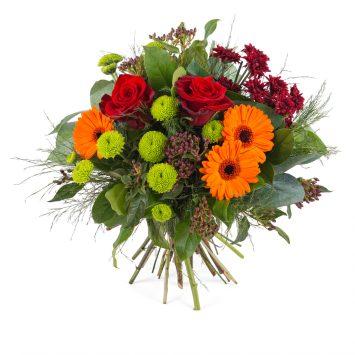 Ramo en tonos cálidos y verdes - Envío de Flores a Domicilio