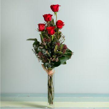 Interflora - 5 Rosas Rojas de Tallo Largo - Envío de Flores a Domicilio