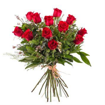 Interflora -12 Rosas Rojas de Tallo Largo - Envío de Flores a Domicilio