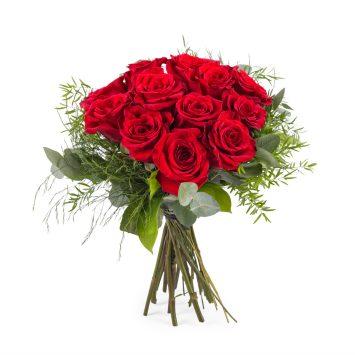 12 Rosas Rojas de Tallo Corto - Envío de Flores a Domicilio