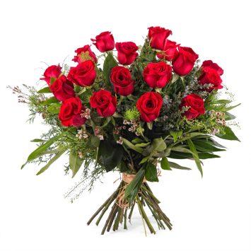 18 Rosas Rojas de Tallo Largo - Envío de Flores a Domicilio