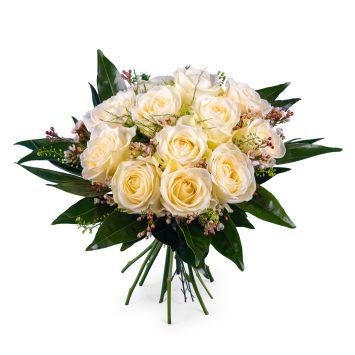 12 Rosas Blancas de Tallo Corto - Envío de Flores a Domicilio