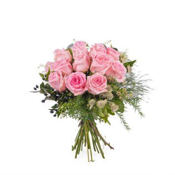 12 Rosas Rosas de Tallo Corto - Envío de Flores a Domicilio