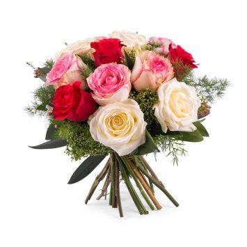 12 Rosas Multicolor de Tallo Corto - Envío de Flores a Domicilio