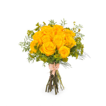 12 Rosas Amarillas de Tallo Corto - Envío de Flores a Domicilio