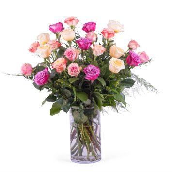 24 Rosas Multicolor de Tallo Largo - Envío de Flores a Domicilio