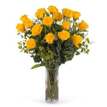 18 Rosas Amarillas de Tallo Largo - Envío de Flores a Domicilio