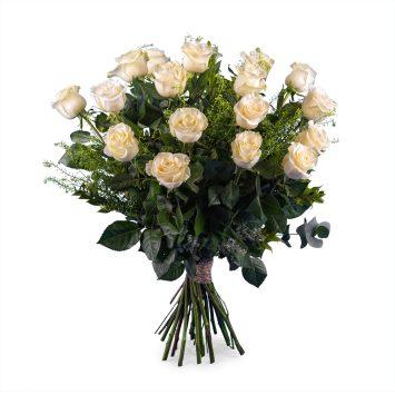 18 Rosas Blancas de Tallo Largo - Envío de Flores a Domicilio