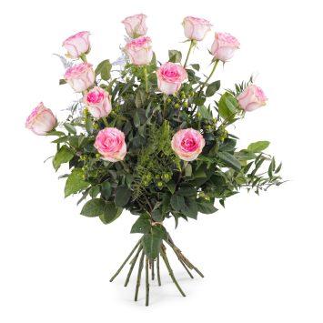 12 Rosas Rosas de Tallo Largo - Envío de Flores a Domicilio