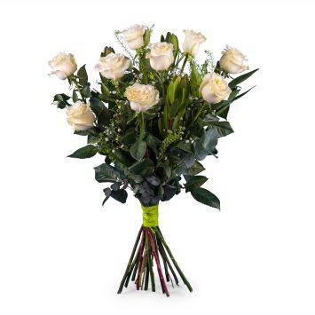 9 Rosas Blancas de Tallo Largo - Envío de Flores a Domicilio