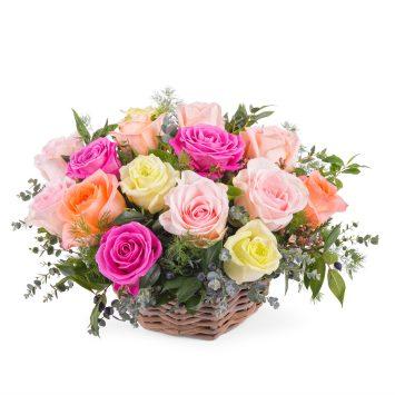 Centro de rosas multicolor - Envío de Flores a Domicilio