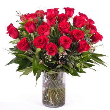 24 Rosas Rojas de Tallo Largo - Envío de Flores a Domicilio