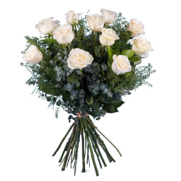 12 Rosas Blancas de Tallo Largo - Envío de Flores a Domicilio