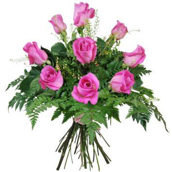 Ramo de 9 rosas rosadas