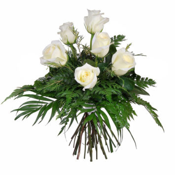 Ramo de 6 rosas blancas pureza