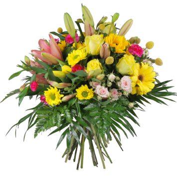 Ramo de flores amarillo y rosa
