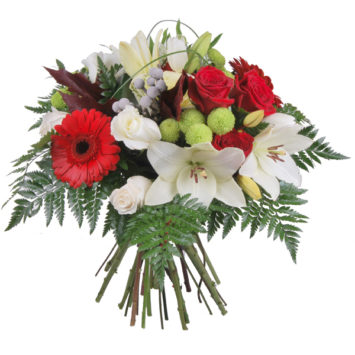 Ramo de flores blanco y rojo