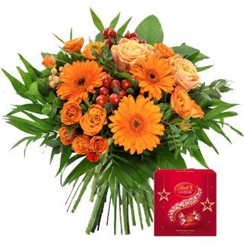 Bouquet de flores y bombones