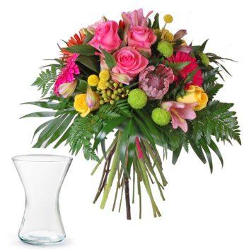 Ramo de flores felicidades + jarrón gratis