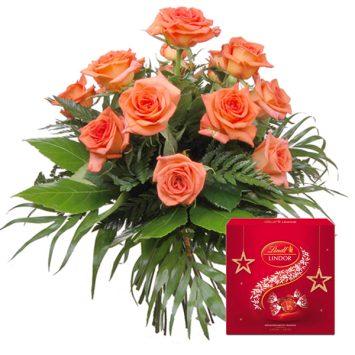 Ramo de rosas naranjas y bombones