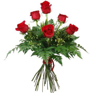 Ramo de 6 rosas rojas amor