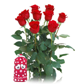 Rosas rojas y saco I love you
