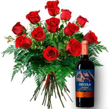 Ramo de 12 rosas y vino tinto