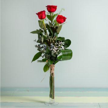 Interflora - 3 Rosas Rojas de Tallo Largo - Envío de Flores a Domicilio